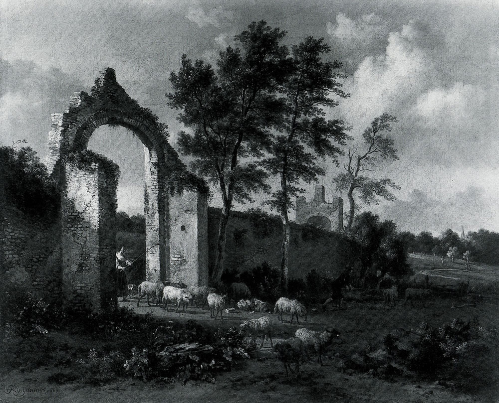Jan Wijnants - A Landscape with a Woman driving Sheep through a Ruined Archway