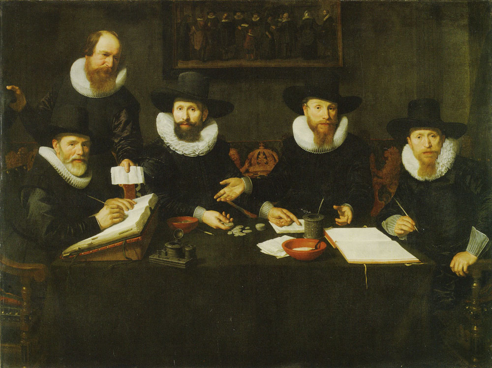 Nicolaes Eliasz. Pickenoy - Four Governors and a House Father of the Spinhuis prison