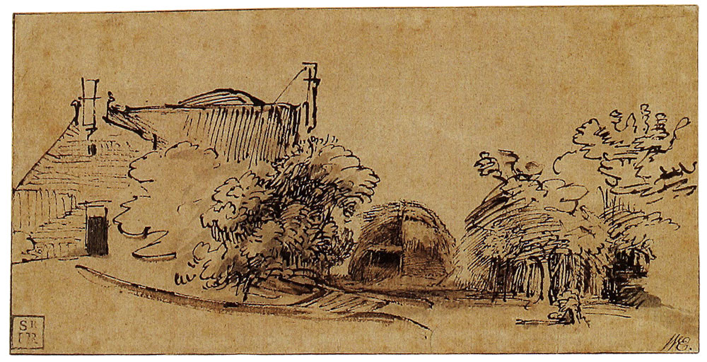 Rembrandt - Farm-House with a Hay-Stack