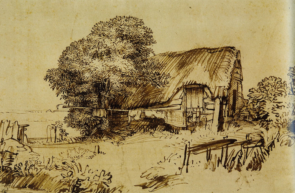 Rembrandt - A Thatched Cottage