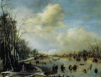 Aert van der Neer Winter Landscape with Figures on a Frozen River