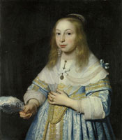 Bartholomeus van der Helst Portrait of a Girl in Pale Blue with an Ostrich Feather Fan