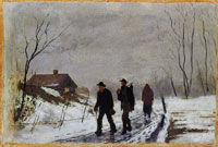 Edvard Munch People on the Road in Wet Snow