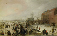 Hendrick Avercamp - A Scene on the Ice near a Town