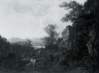 Jan Both A Rocky Landscape with Peasants and Pack Mules