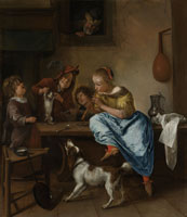 Jan Steen Children Teaching a Cat to Dance