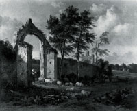 Jan Wijnants A Landscape with a Woman driving Sheep through a Ruined Archway