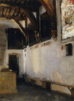 John Singer Sargent Interior with Stained-Glass Window