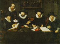 Nicolaes Eliasz. Pickenoy Four Governors and a House Father of the Spinhuis prison