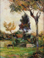 Paul Gauguin Two Cows in the Meadow
