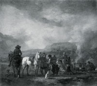 Philips Wouwermans Two Horsemen at a Gipsy Encampment