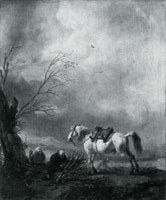 Philips Wouwermans A White Horse, and an Old Man binding Faggots