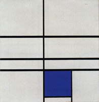 Piet Mondrian Composition with Double Line and Blue