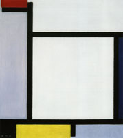 Piet Mondrian Composition with Red, Blue, Black, Yellow, and Gray