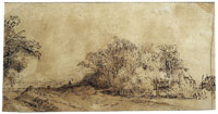 Rembrandt Farm-Houses Amid Trees