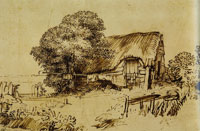 Rembrandt A Thatched Cottage
