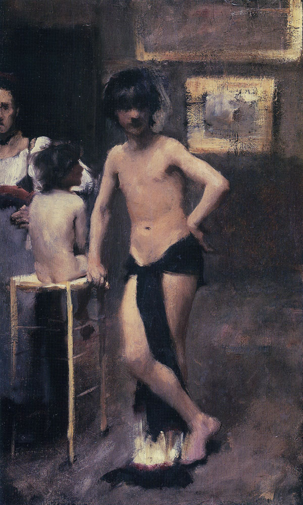 John Singer Sargent - Two Nude Boys and a Woman in a Studio Interior