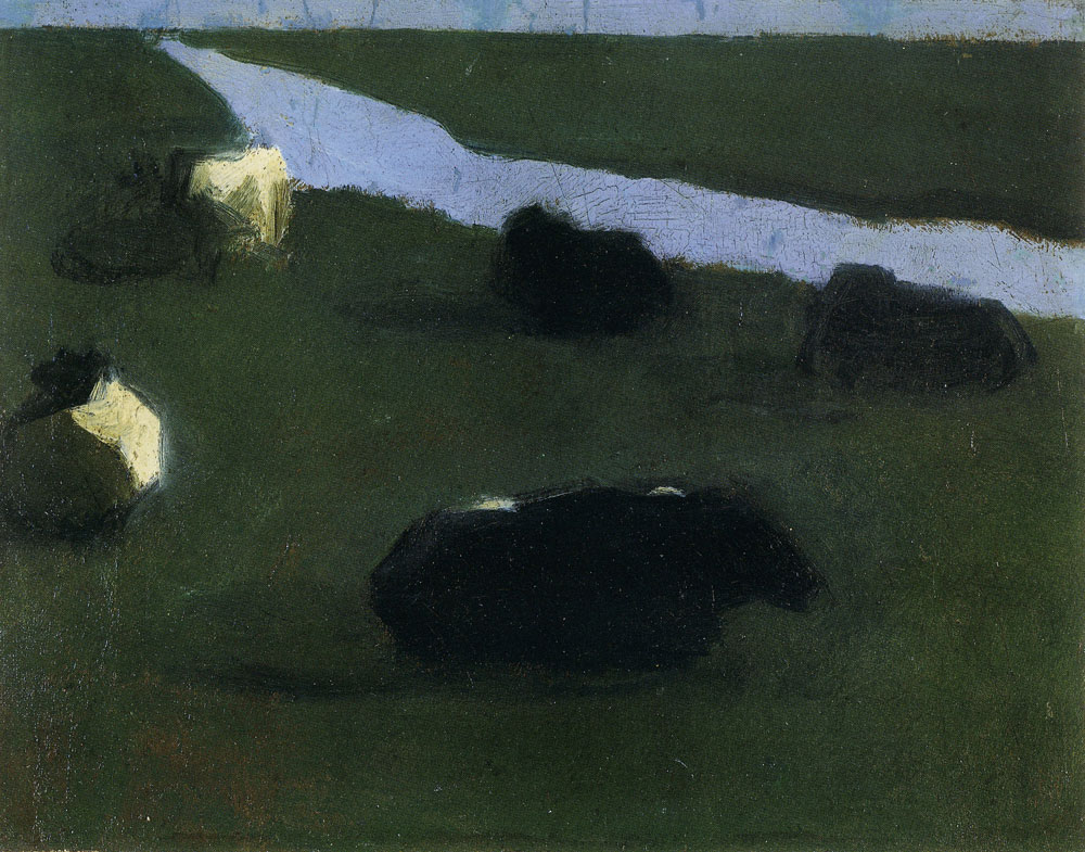 Piet Mondriaan - Polder Landscape with Irrigation Ditch and Five Cows
