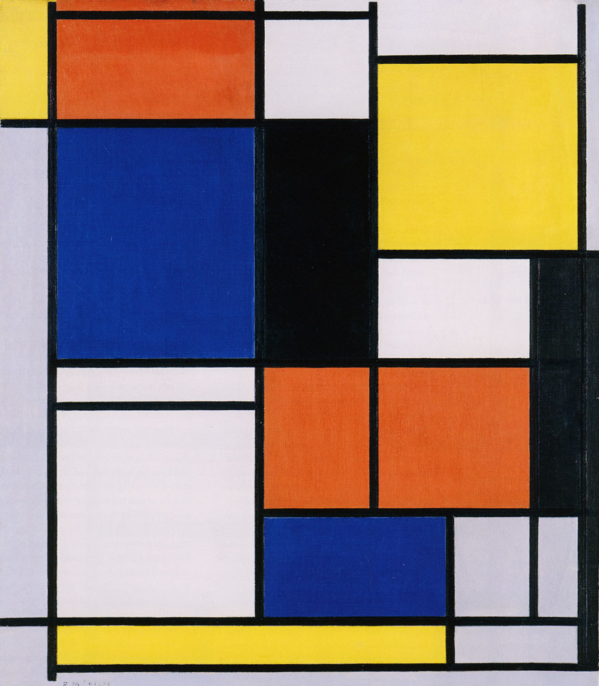 Piet Mondrian - Tableau No. II with Red, Blue, Black, Yellow, and Gray
