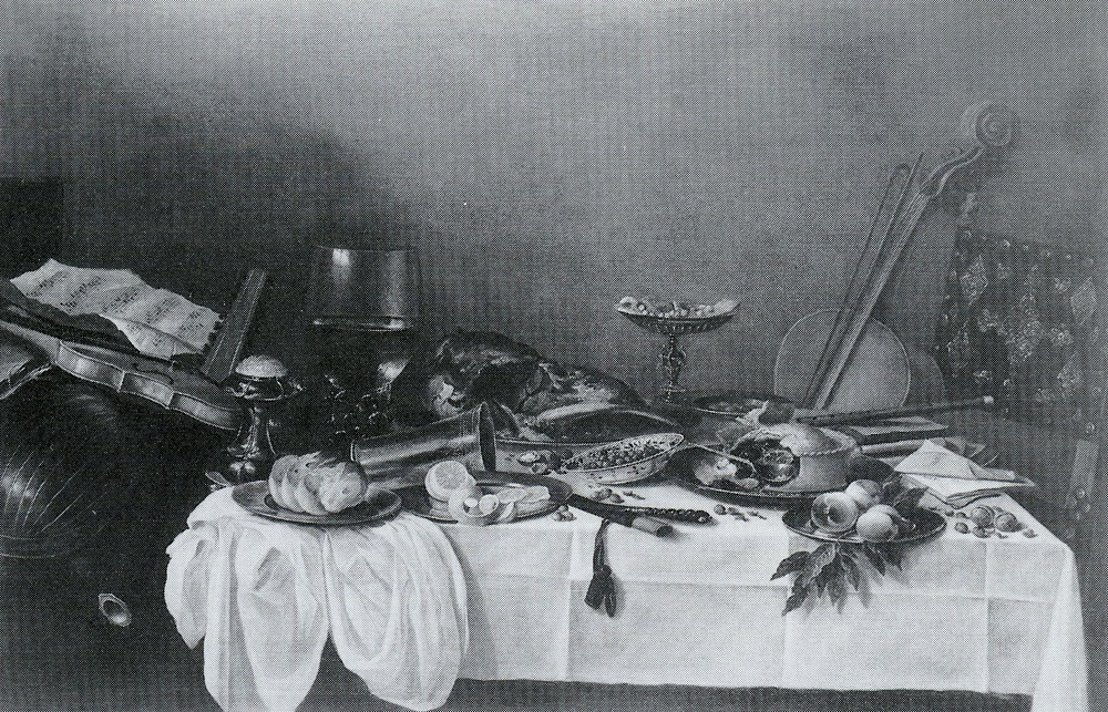 Attributed to Pieter Claesz. - Still Life on a Table with Musical Instruments