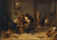 David Teniers the Younger Two Men Playing Cards in the Kitchen of an Inn