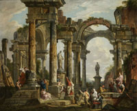 Giovanni Paolo Panini Roman Ruins with Saint Paul Preaching