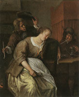 Jan Steen A Man blowing Smoke at a Drunken Woman, and Another Man with a Wine-pot