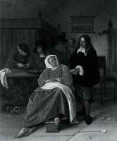 Jan Steen An Interior with a Man offering an Oyster to a Woman
