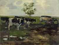 Piet Mondriaan Cows in a Meadow with Tree