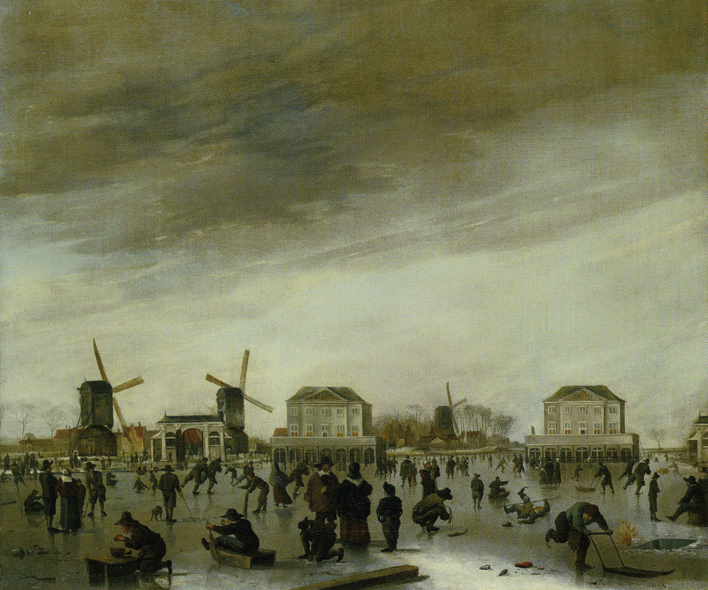 Hendrick Dubbels - The Blockhouses in the River Amstel in Winter