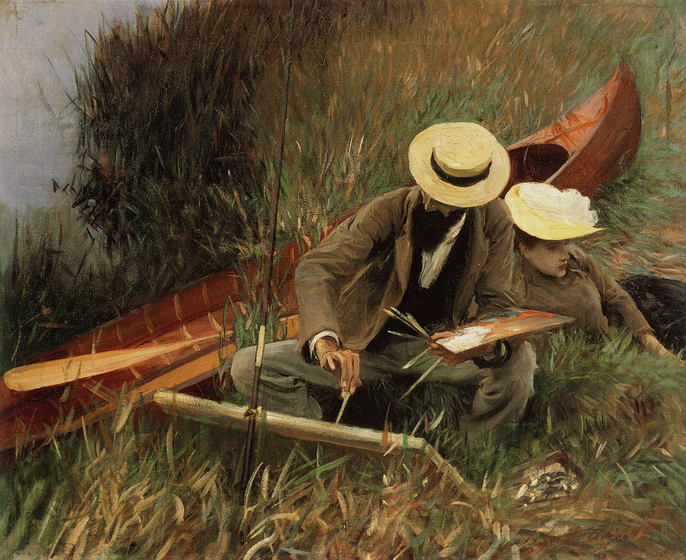 John Singer Sargent - Paul Helleu Sketching with his Wife or An Out-of-Doors Study