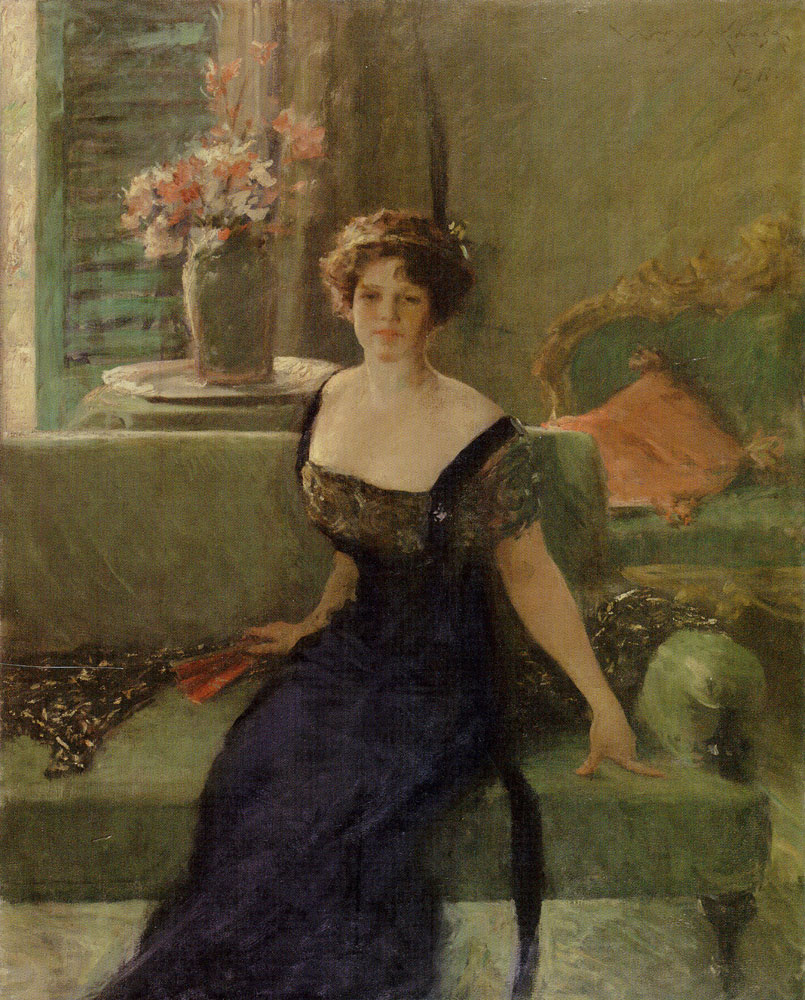 William Merritt Chase - Portrait of a Lady in Black (Annie Traquair Lang)