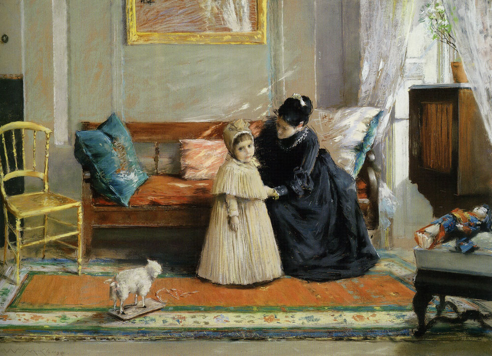 William Merritt Chase - Child and Young Woman in Black