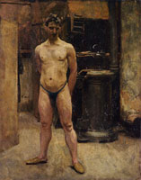John Singer Sargent A Male Model Standing before a Stove