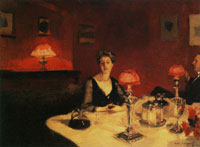 John Singer Sargent Mr and Mrs Albert Vickers or A Dinner Table at Night