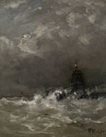 Hendrik Willem Mesdag - Lighthouse in Breaking Waves