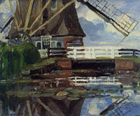 Piet Mondriaan Truncated View of the Broekzijder Mill on the Gein, Wings Facing West