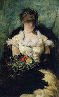 William Merritt Chase Woman Holding a Bouquet of Flowers
