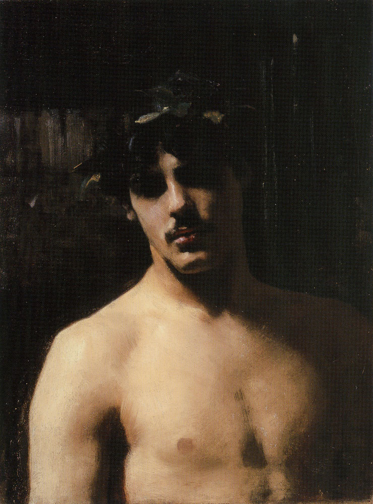 John Singer Sargent - A Male Model with a Wreath of Laurel