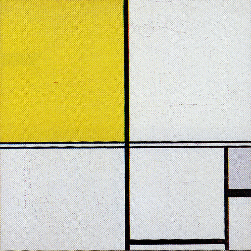 Piet Mondrian - Composition B, with Double Line and Yellow and Gray