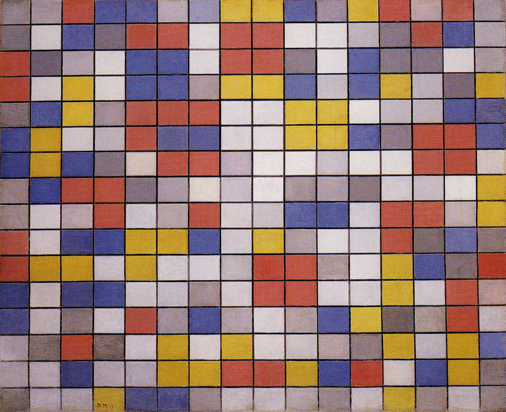 Piet Mondrian - Composition with Grid 9: Checkerboard Composition with Light Colours
