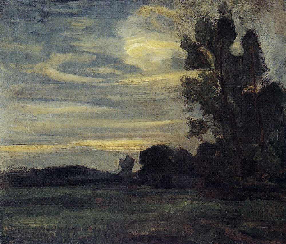 Piet Mondriaan - Field with Tree Silhouette at Right