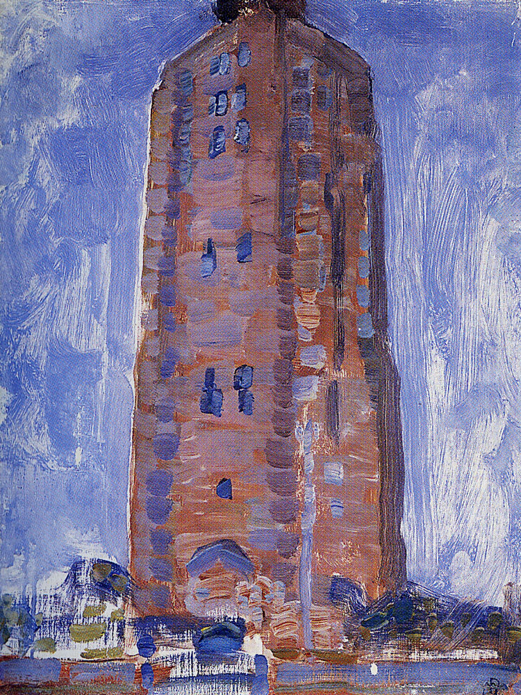 Piet Mondriaan - Lighthouse at Westkapelle in Brown