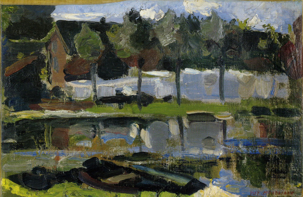 Piet Mondriaan - Narrow Farm Building and Trees along the Water