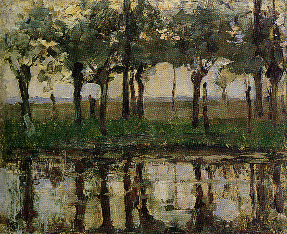 Piet Mondriaan - Row of Young Willows Reflected in the water