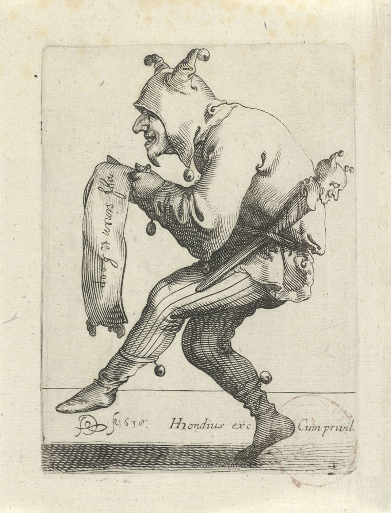 Pieter Quast and Hendrick Hondius - The Five Senses: Title Page - A Fool