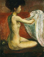 Edvard Munch Seated Nude Against a Red Background
