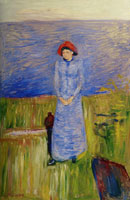 Edvard Munch Woman in Blue Against Blue Water