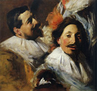 John Singer Sargent Two Heads from 'The Banquet of the Officers of the St George Civic Guard', after Frans Hals