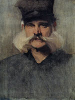 John Singer Sargent Study of a Man Wearing a Tall Black Hat